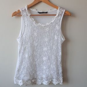 Zara Floral Beaded Embroidered Lace Tank White